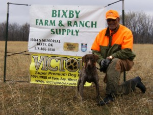 Roy Marshall and his GSP Rocket won first in the Puppy Category with a score of 131.