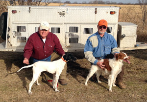 Jim Anderson and Mike Bloyd pose for a photo after winning the February 2014 Buddy Fun Hunt at the Tulsa Bird Dog Association Trial Grounds in Inola, Okla.