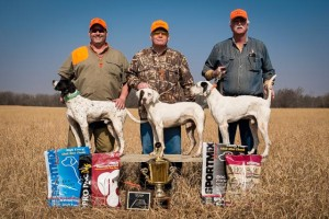Kent Long and Stick (Center) took Top Dog honors. Brian Ahern and Aries (Left) were named runner up. Gary Hanger and Lennie (right) were named second runner up.